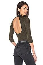 Motel Zoe Rose Bodysuit in Black Gold Metallic Rib Knit