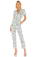 MOTHER The Zip Up Short Sleeve Jumpsuit in Fresh Cut