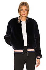 MOTHER The Letterman Faux Fur Jacket in A Girl Named Blue
