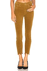 MOTHER High Waisted Looker Ankle Chew Corduroy in Okra