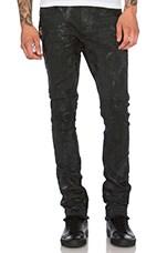 Black Seam Wax Jean in Black