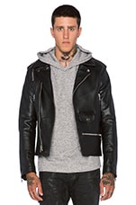 Leather Moto Jacket in Black/White