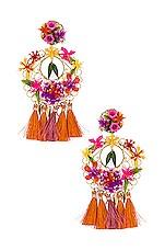 Mercedes Salazar Flower Statement Earrings in Pink & Gold