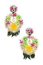 Mercedes Salazar Fiesta Earrings in Green & Pink