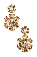 Mercedes Salazar Double Flower Pearl Earrings in Gold
