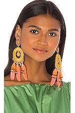 Mercedes Salazar Feather Beaded Earrings in Yellow & Orange