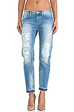 Ripped Boyfriend Le Garcon with Distressed Hem in Medium Wash
