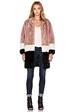 Maison Scotch Colorblock Faux Fur Jacket in Pink, Black & White
