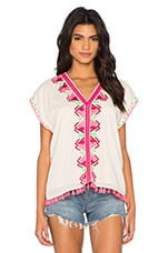 Embroidered Boho Gypsy Top en Blanc