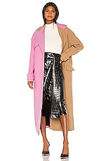 MSGM Colorblock Coat in Beige