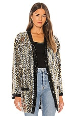 MSGM Chains Paillettes Cardigan in Silver & Gold