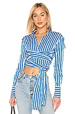 MSGM Tie Front Shirt in Blue & White