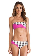 Color Block Bikini in Sunset Pink & Gingham Print