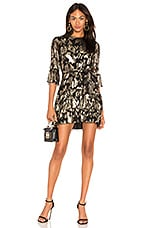 Mestiza New York Lucia Ruffled Mini Dress in Gold & Black