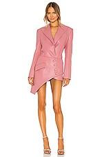 MATERIEL Faux Leather Corset Detail Blazer Dress in Pink