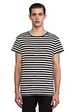 Munsoo Kwon Striped Back Split Tee in Black & Old White