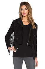Romana Fringed Biker Jacket in Black