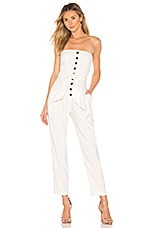 Marissa Webb Nikos Jumpsuit in Linen White Pinstripe