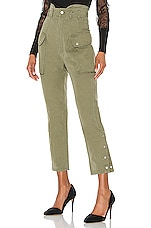Marissa Webb Belle Herringbone Canvas Pant in Military Green