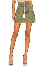 Marissa Webb Hannah Herringbone Canvas Skirt in Military Green
