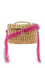 Nannacay Kiki Small Macrame Strap Bag in Off White & Pink