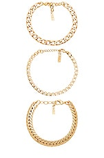 Natalie B Jewelry Tre Catena Bracelet in Gold