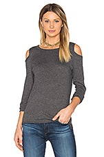 Olivia Cold Shoulder Tee in Charcoal