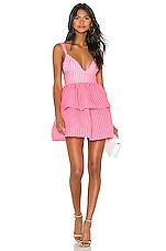 NBD Rita Mini Dress in Neon Pink & White