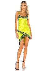 NBD Lipa Slip Dress in Chartreuse