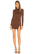 NBD Nima Mini Dress in Chocolate Brown
