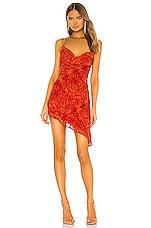NBD Dorero Slip Dress in Red Orange Snake