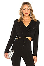 NBD Mareen Cropped Blazer in Black Noir