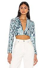 NBD Hera Cropped Blazer in Blue & Silver