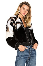 NBD Bonita Faux Fur Bomber in Black & Cream
