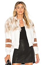 NBD The Bella Faux Fur Bomber in Ivory & Blush