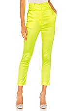 NBD Satin Cigarette Pant in Chartreuse
