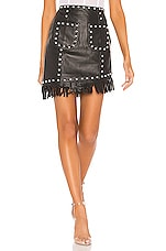 NBD Laeticia Leather Mini Skirt in Black