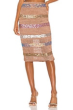 NBD Mosaic Midi Skirt in Nude