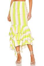 NBD Ayesha Midi Skirt in Lime & Ivory