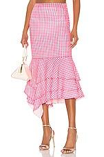 NBD Ayesha Midi Skirt in Neon Pink & White