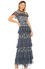 Needle & Thread Tiered Anglais Gown in Washed Indigo