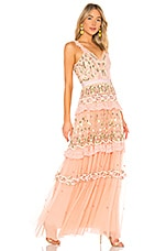 Needle & Thread Lattice Rose Sleeveless Gown in Coral