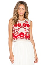 Sequin Lace Ribbon Top in Dust Rose & Red