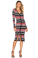 NICHOLAS Merino Rib Dress in Red Stripe