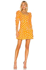 NICHOLAS Ruched Sleeve Button Front Dress in Mango Multi