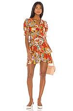 NICHOLAS Puff Sleeve Pintuck Dress in Tangerine Multi
