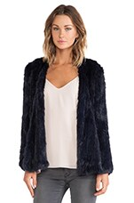 Knitted Rabbit Fur Jacket en Marine