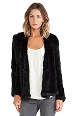 Knitted Rabbit Fur Jacket en Noir