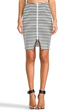 Breton Stripe Pencil Skirt in White/Black