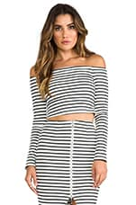 Breton Stripe Off the Shoulder Top in White/Black